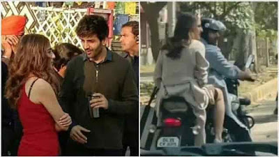 Sara Ali Khan and Kartik Aaryan spotted riding a bike video viral