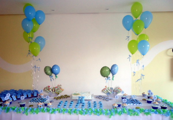 62f69351b79e8 Realizando Sonhos Decoração de Festas: Chá de Bebê Menino - Azul, Verde e  Branco