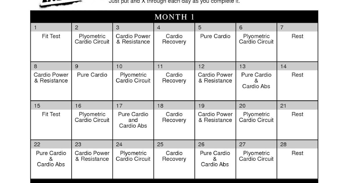 Calendario Insanity.M O Total Insanity Workout Deluxe Full Online
