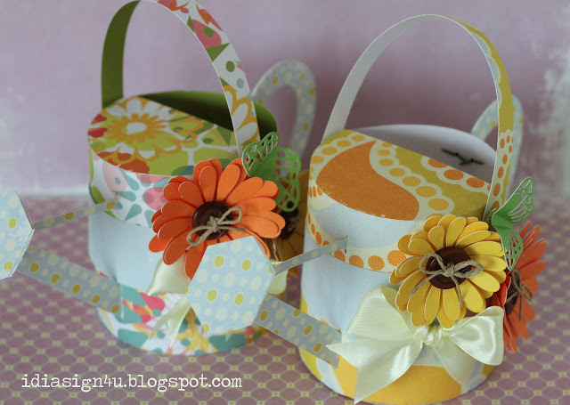 3D Paper Watering Can Treat Boxes | SVGCuts by ilovedoingallthingscrafty.com