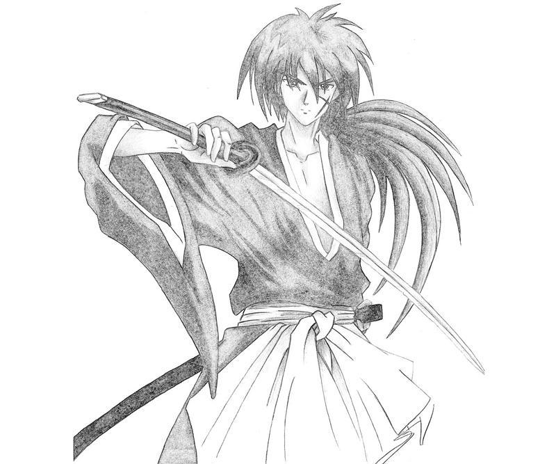 kenshin coloring pages | Rurouni Kenshin Himura Kenshin Sword | Mario