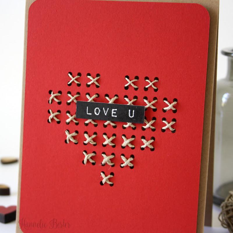 Rustic Valentine's day card with twine and Kraft