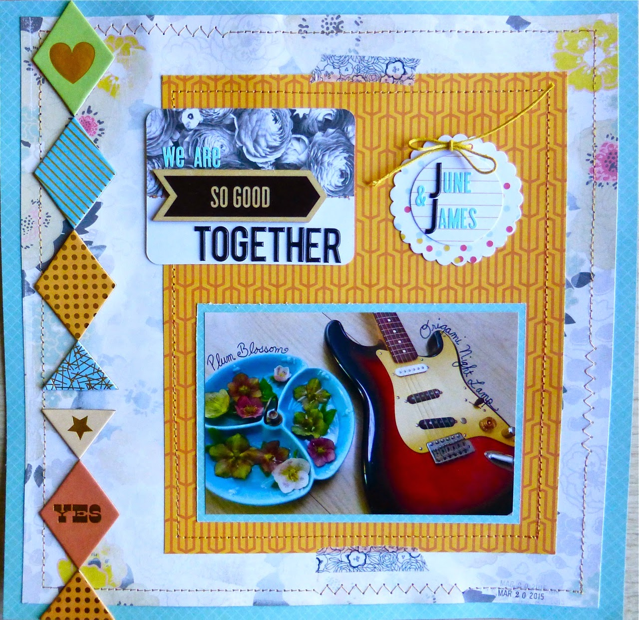 Studio Calico scrapbook layout, we are so good together, june and james, Studio Calico, patterned paper, chipboard, wood veneer, washi tape, journaling card, tag