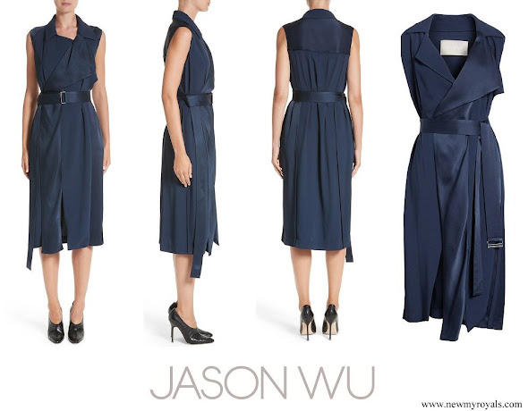 Meghan Markle wore Jason Wu Flared Belted Satin Dress