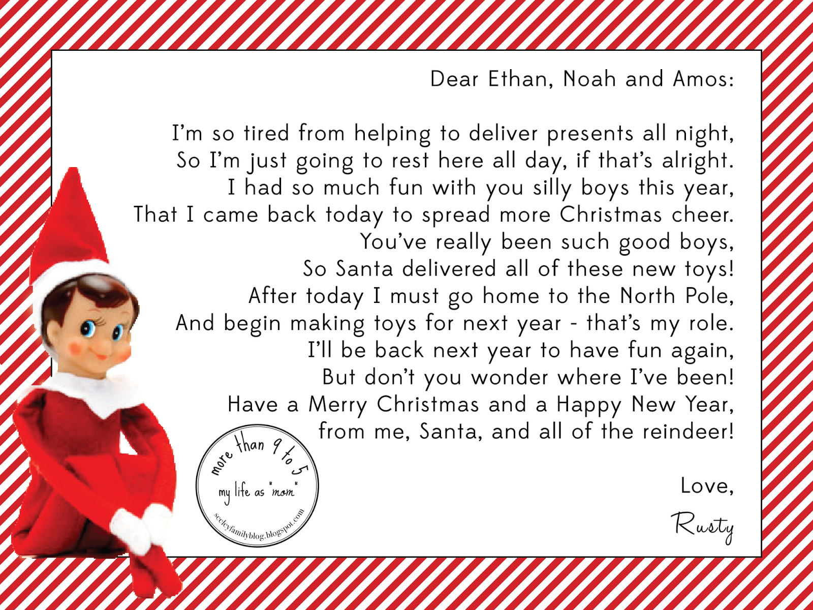 elf on the shelf letters printable more than 9 to 5 my as quot quot the 10180 | Elf on the Shelf Exit Letter 2013