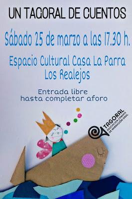 """Sábado 25 de marzo. Cartel de """"Tagoral de cuentos"""" ofrecida por miembros de la Asociación Canaria de Narración Oral"""