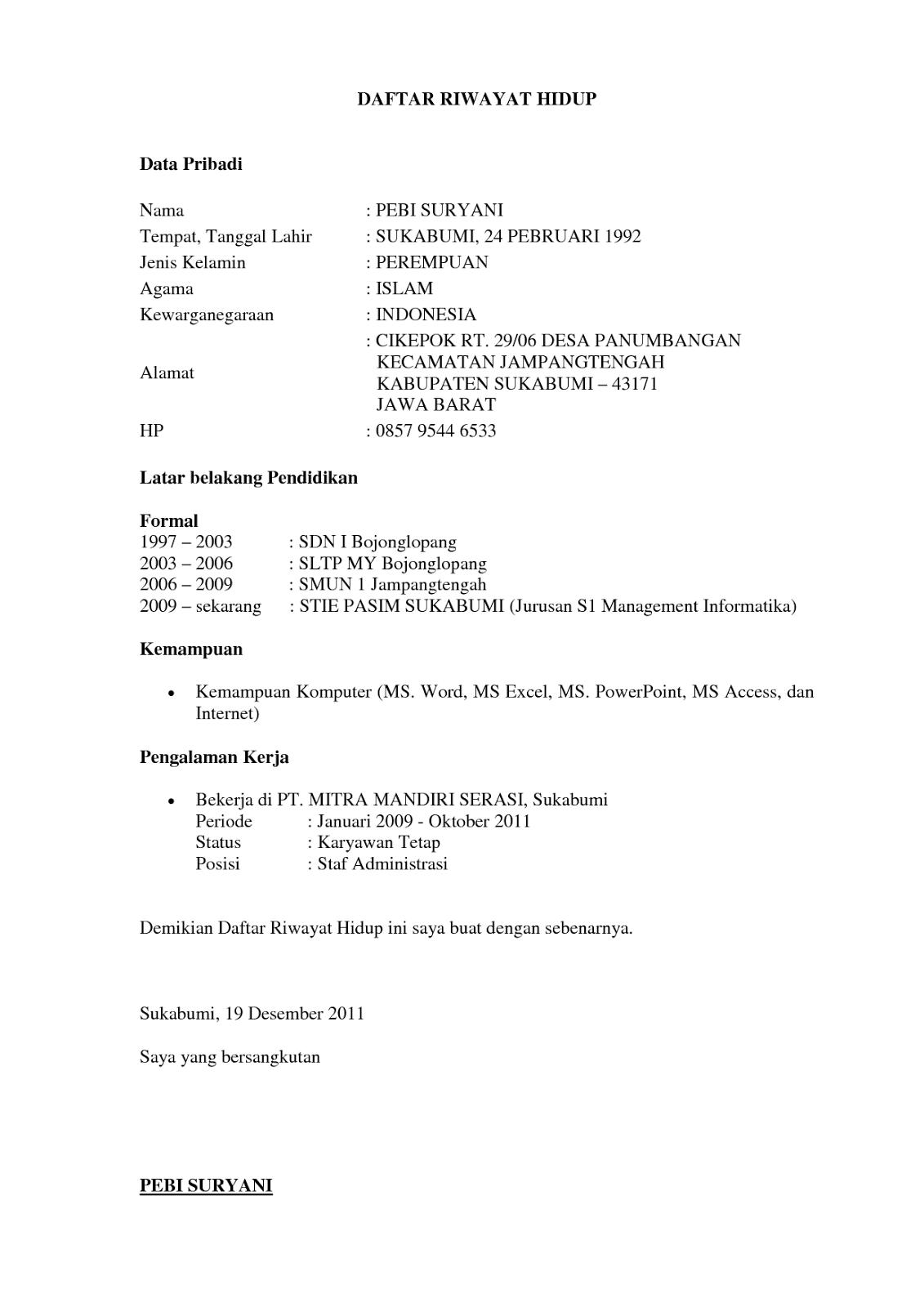 Contoh Daftar Riwayat Hidup Cpns 2013 - Contoh Waouw