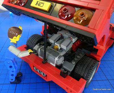 LEGO Ferrari F40 set 10248 mechanic under engine lid