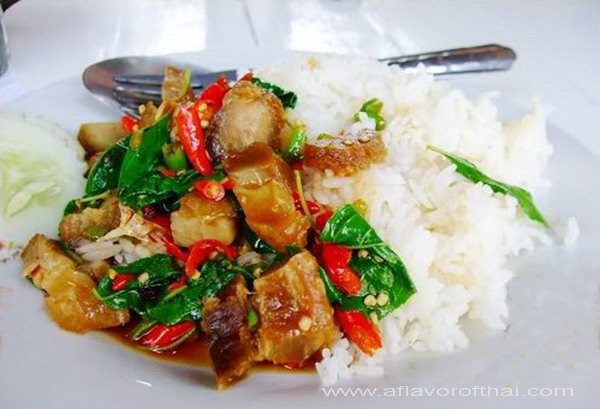 Phad Krapaow Mou Krob (Stir-fried Crispy Pork with chilies and holy