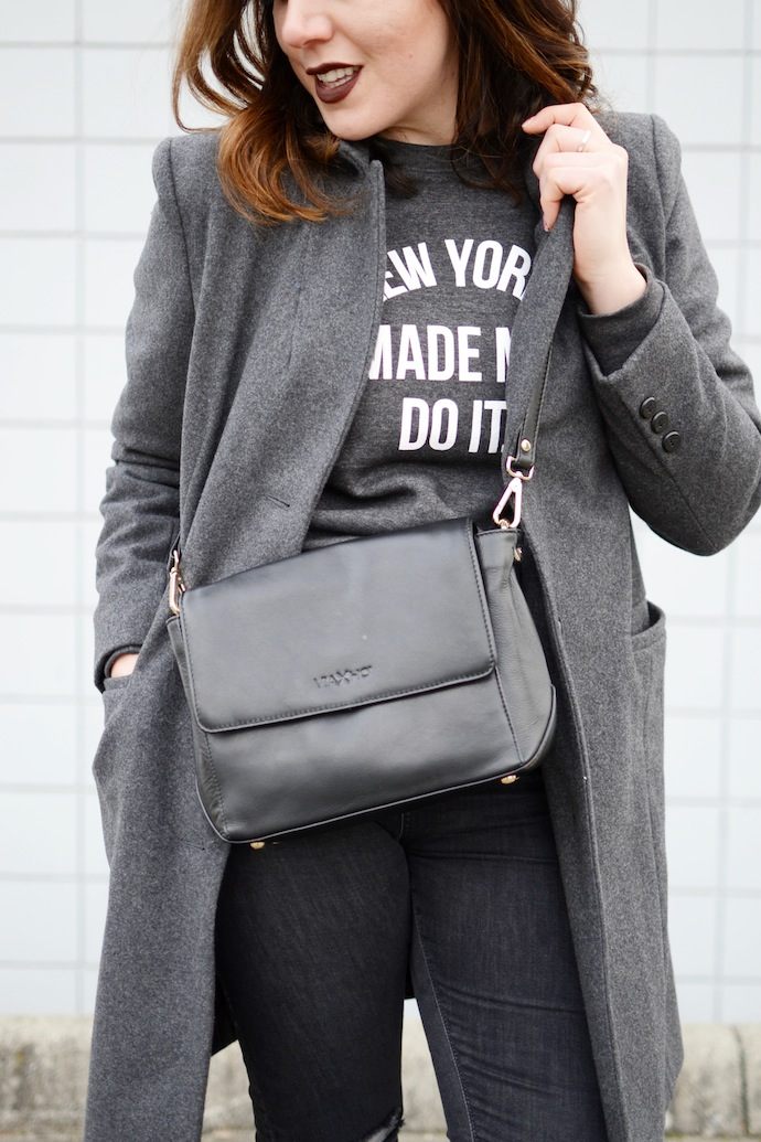 Brunette is the New Black sweater New York Made Me Do It. Vancouver fashion blogger all grey outfit Le Chateau handbag