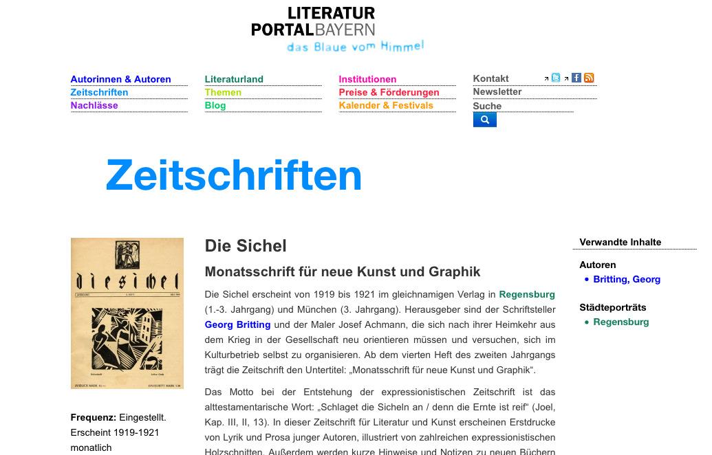 Regensburg Historisch 1919 Ff Zeitschrift Die Sichel