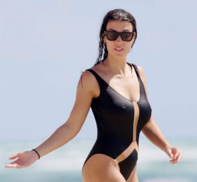 Ludivine Sagna in Black Swimsuit in Miami