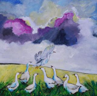 Gæs, flyvende, skyer, marsk, himmel, kunst, maleri, Ayoe L L Pløger