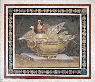 The Doves of Pliny, or the Capitoline Doves Mosaic is made only of cubes of colored marble, without any colored glass.