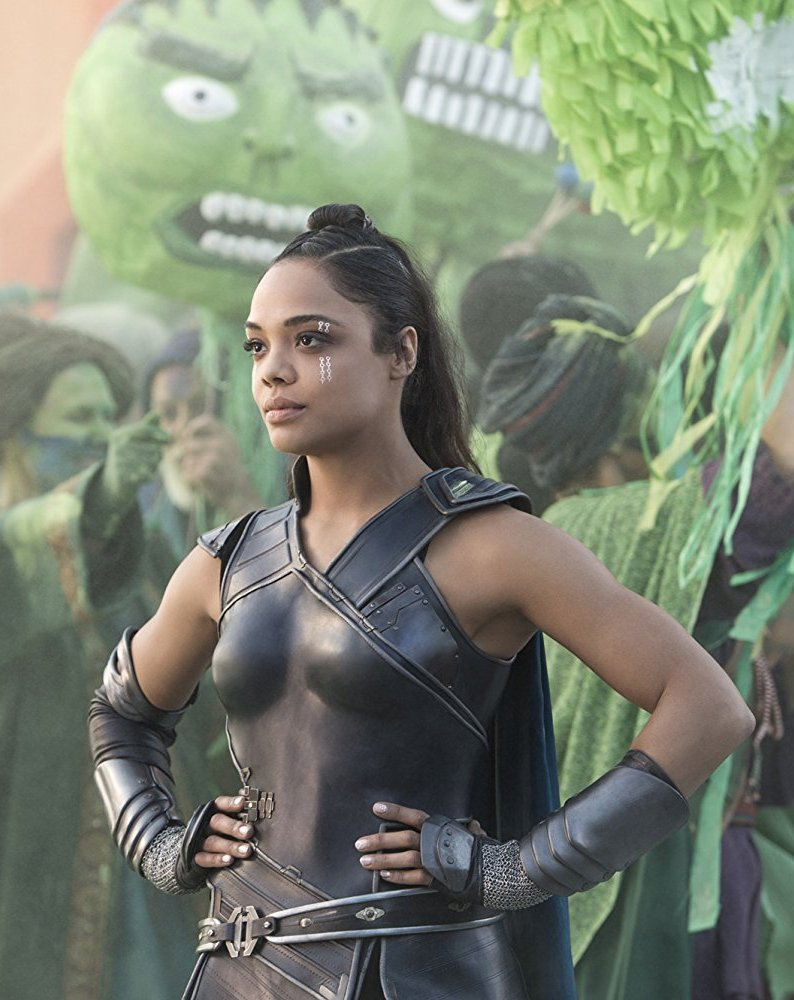 In the movie, Valkyrie leaves her home behind because of her past but reluctantly becomes part of Thor and Hulk's team to try to save Asgard.
