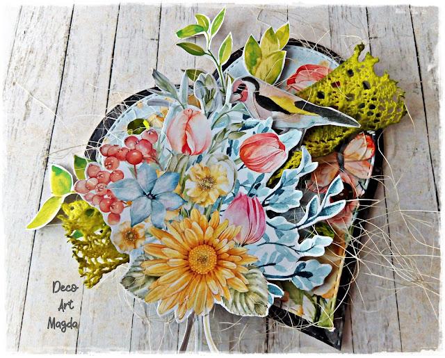 wiosenna kartka pełna kwiatów