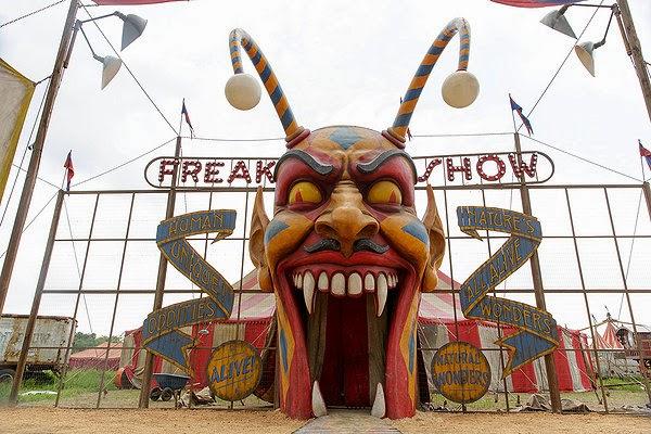 Fraulein Elsa's Cabinet of Curiosities Freak Show American Horror Story Season 4 circus carnival tent entrance wallpaper photo image screensaver