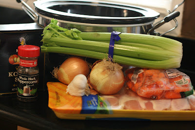 matzah ball soup ingredients from scratch. This is how you make the chicken broth in the crockpot slow cooker.