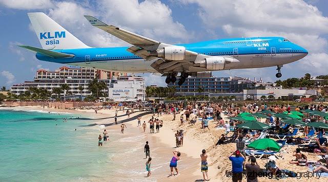 Saint Marteen, aterrizaje de avion KLM 747