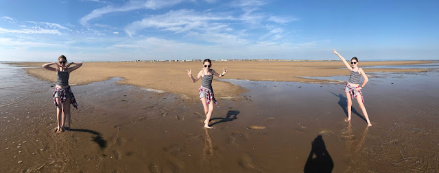 panoramic of st annes beach with 3 tamsins