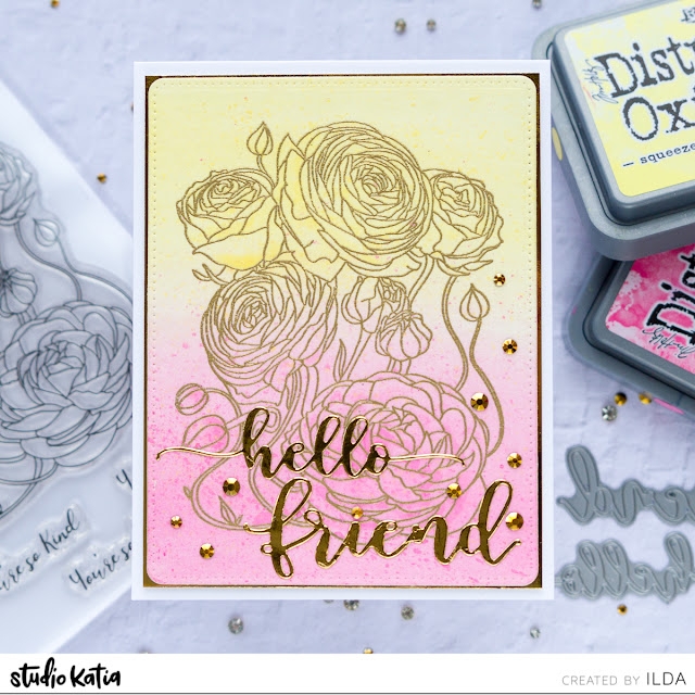 Quick and Easy Hello Friend Card | Studio Katia by ilovedoingallthingscrafty.com
