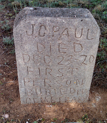 Headstone for J.C. Paul who died December 23, 1920 and the first person buried in the O'Donnell Cemetery.