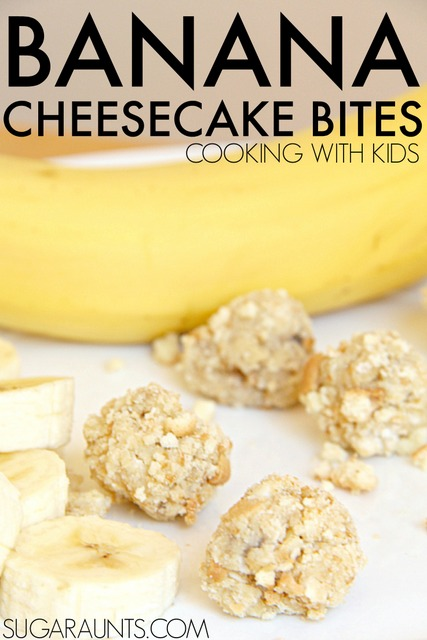 Banana Cheesecake Bites recipe. This is a good recipe to cook with kids!