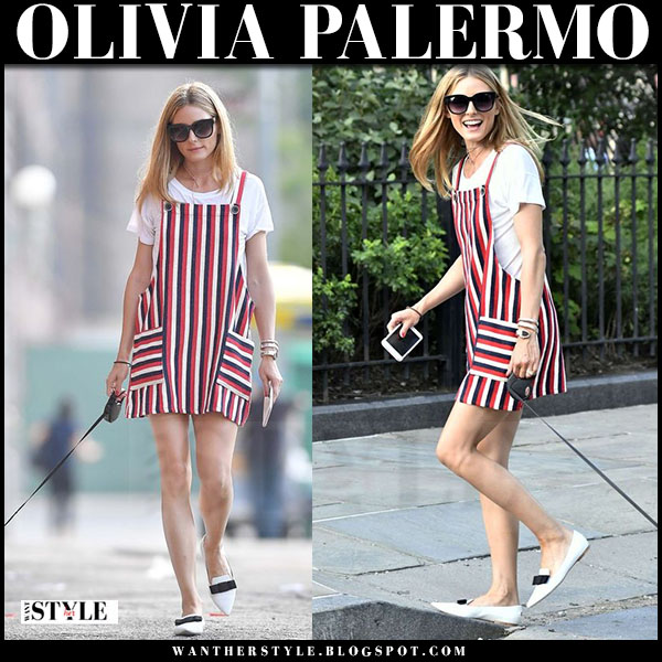 Olivia Palermo in striped red blue and white mini dress and white flats jimmy choo gala what she wore
