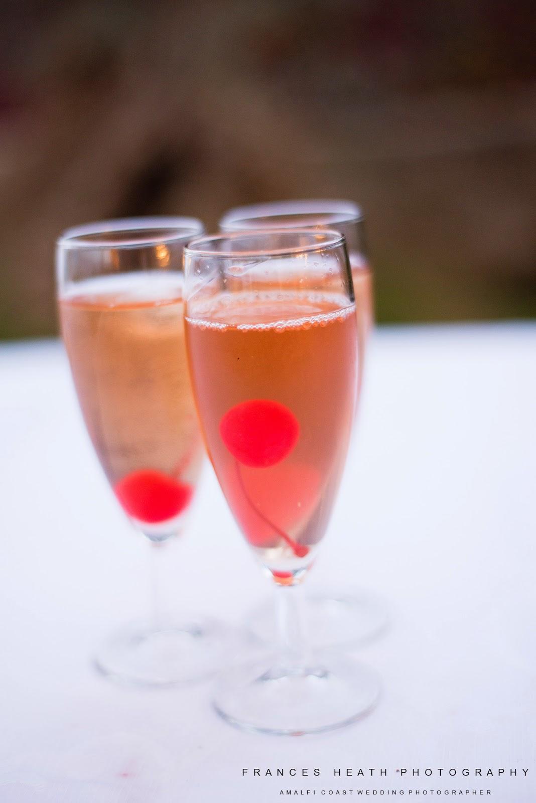 Wedding champagne cocktails at Villa Eva Ravello