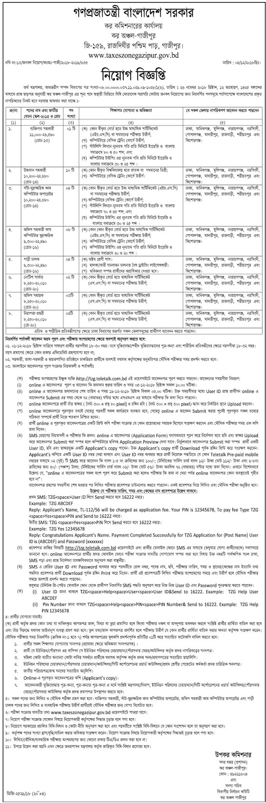 Commissioner of Taxes, Taxes Zone- Gazipur Job Circular 2018