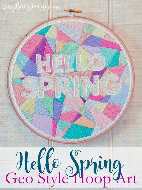hello spring geometric hoop art