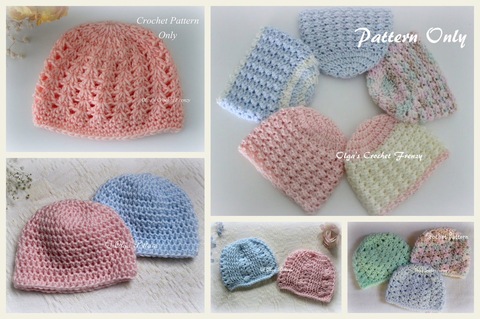 Lacy Crochet: Preemie Girls Baby Hat Free Crochet Pattern