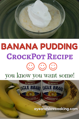 This is how you make banana pudding in the crockpot slow cooker. This is a fun and easy dessert that you can make whenever you want -- busy weeknight, Sunday afternoon dessert, etc. Eat  chilled -- it will be a new favorite!