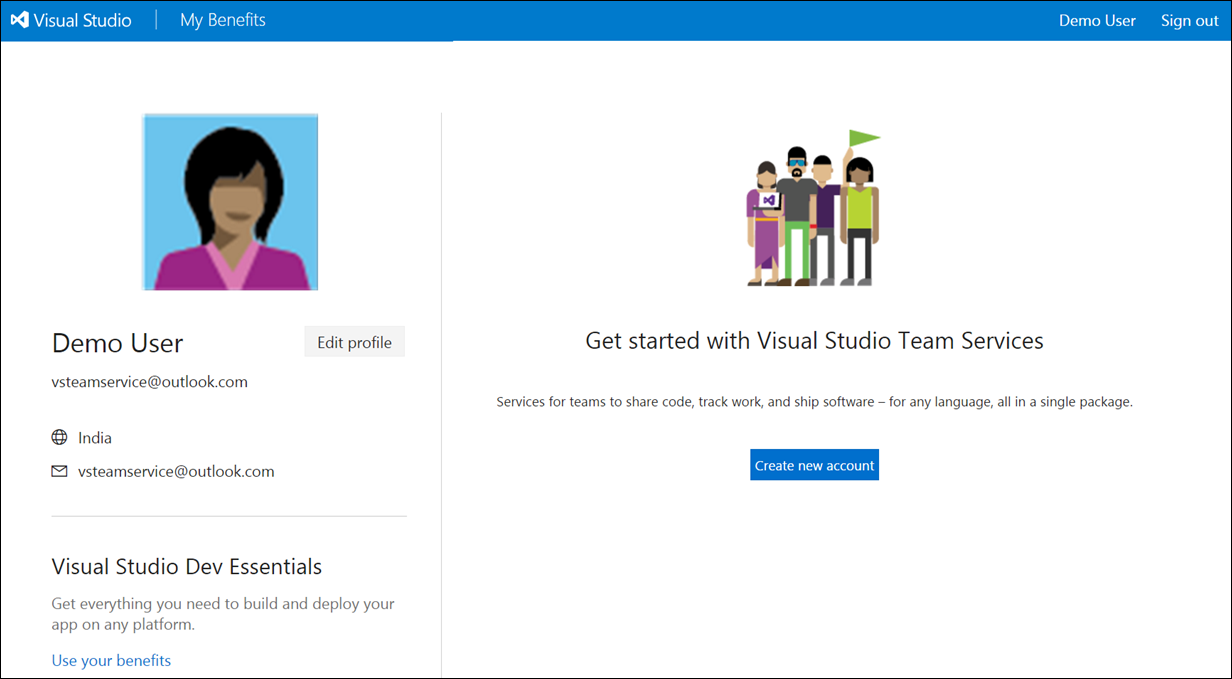 5c4f4d3cfc8 In the new page click on Change details link and provide the unique name  for your new vsts account. Provide the required input such as