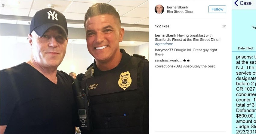Stamford CT Police Sgt Deiso has time on duty for breakfast with Felon On Probation and Corrupt Cop Bernard Kerik