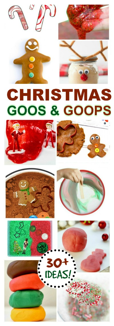 SLIMES, GOOPS, & GOOS!  From Santa snot to Grinch GOO it's all here!  (30+ holiday play recipes for kids) #Christmasplayrecipes #Christmascraftsforkids #Christmasslime