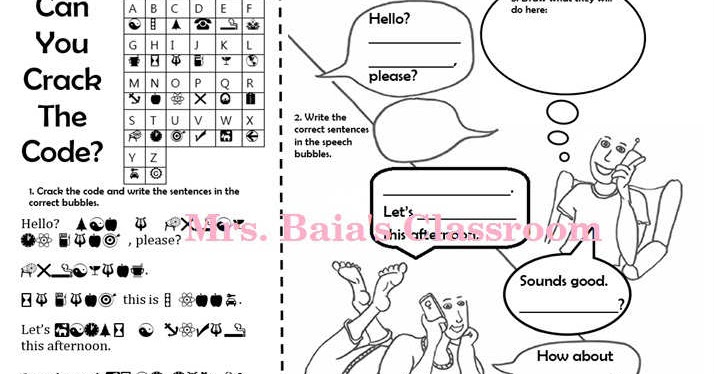 Crack The Code Worksheet for Lesson: Hello? Can I Speak To
