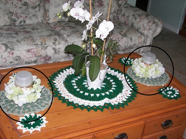 Eye of the Emerald, gifting, doily, mandala, coasters, crochet, finished project, butterfly doilies