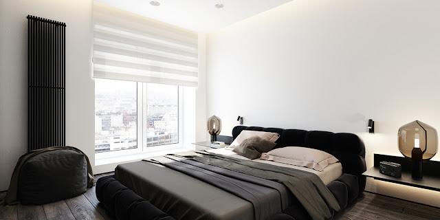стиль минимализм в черно белой спальне
