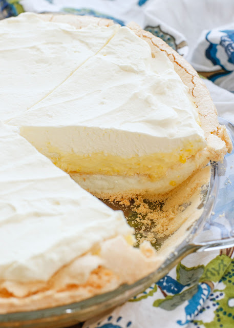 Lemon Angel Pie - the fluffiest, creamiest, dreamiest pie you'll ever make! get the recipe at barefeetinthekitchen.com