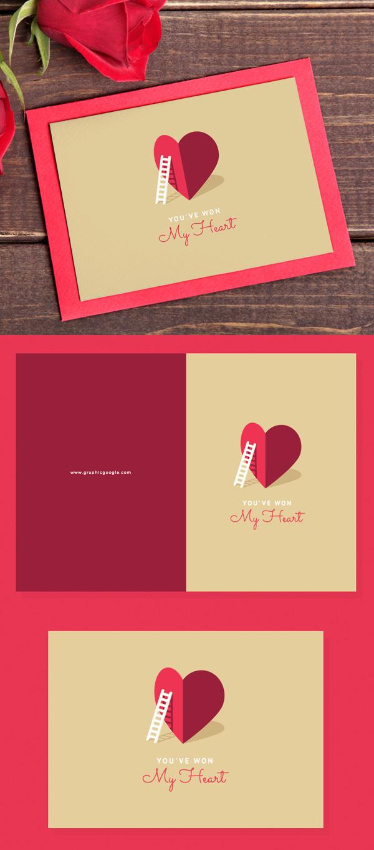 Mockup terbaru 2017 gratis - Free My Heart Valentine Card Template For Lovers