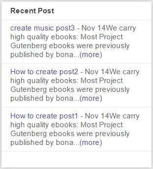 Add Recent Post Widget in Blogger