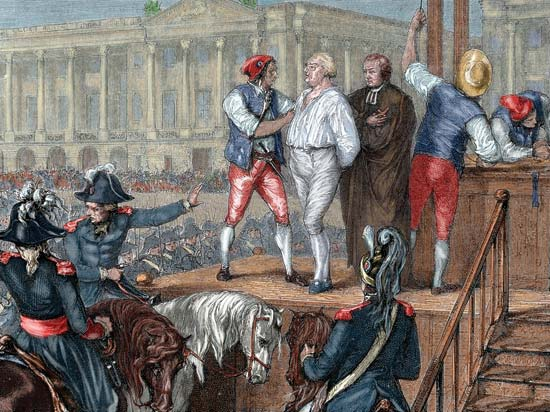 Illustration of the execution of Louis XVI in 1793, during the French Revolution. Importance of Pirouettes. marchmatron.com