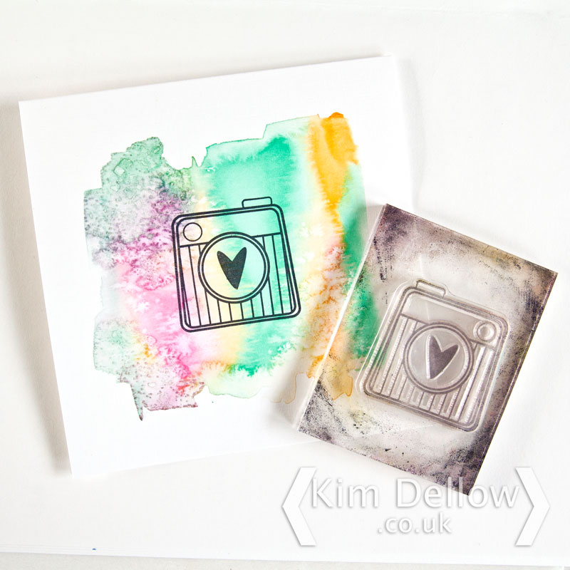Watercolour background for the retro camera stamp