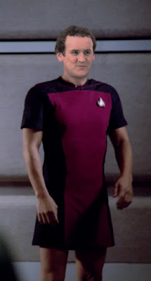 Chief O'Brien wearing TNG skant uniform