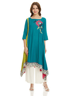 Synthetic Asymmetrical Straight Fit Knee Length W Kurta by FashionDiya