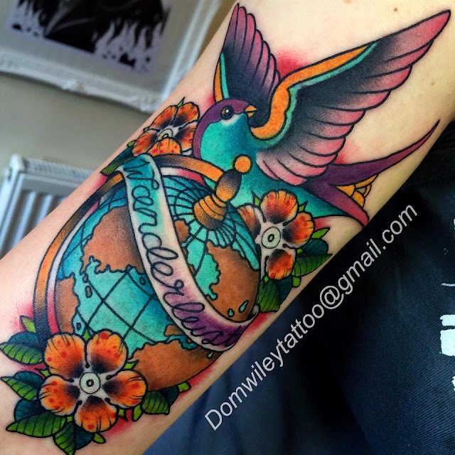 old school, tattoo, colour, color, wanderlust, swallow, flowers, globe,