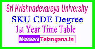 SKU CDE Degree PG 1st Year Time Table 2017 Download