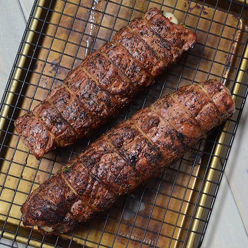 Techniques, tips and tricks for grilling pork tenderloin:  Rest it on a raise rack to avoid moisture loss.