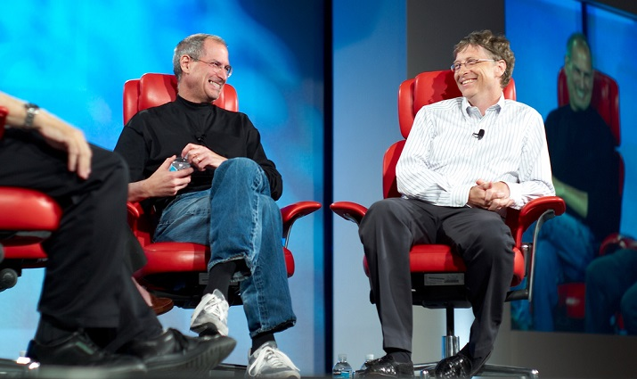Gates with Steve Jobs